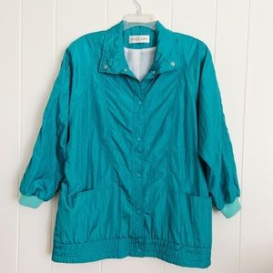 🌿Vintage Teal Windbreaker
